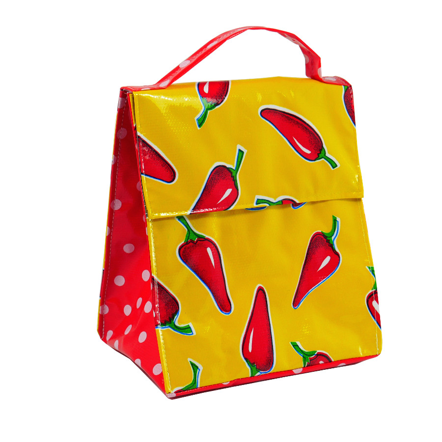 Insulated Lunch Bag Chilli Red On Yellow Me Too Please